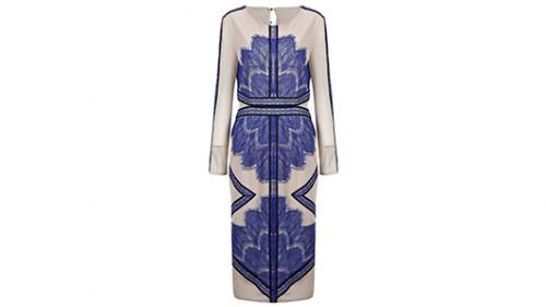 שמלת תחרה עם שרוול ארוך בקרם וכחול ב־43.89 דולר