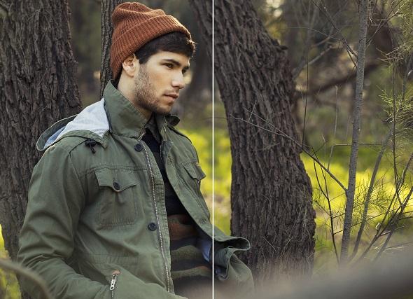 חולצה מכופתרת משבצות- Lee/ סוודר- Zara/ מעיל- Rhythm/ כובע- Element ל- Billabong