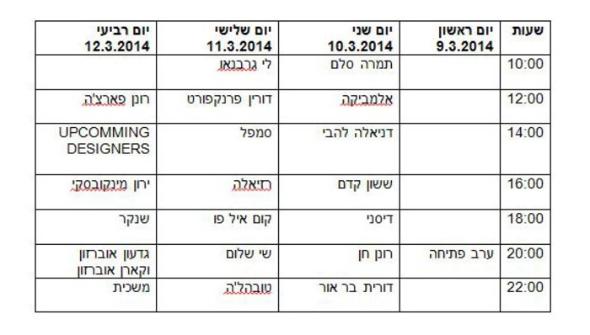 לוח זמנים - - 'שבוע האופנה גינדי תל אביב 2014'