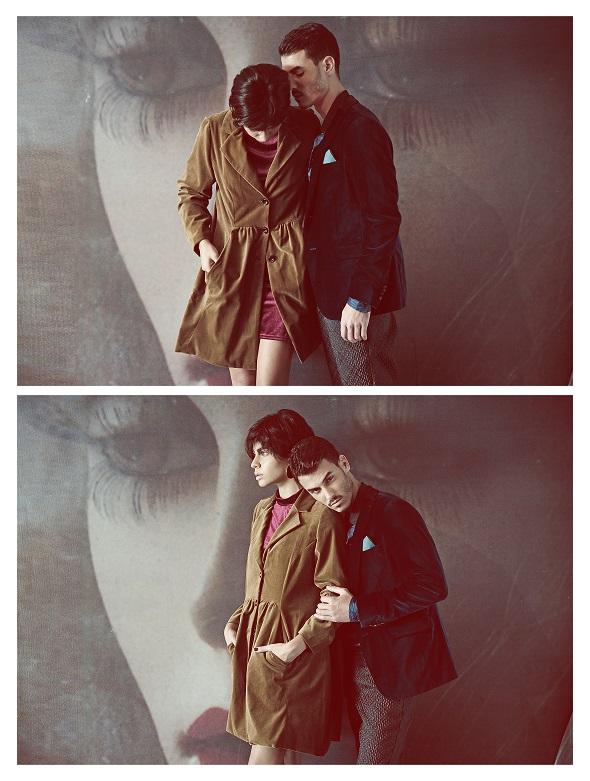 משמאל לימין: בר שמלת קטיפה -  דורין פרנקפורט/מעיל חרדל קטיפה- אלמביקה/גלעד  גקט קטיפה- זאדיג אנד וולטר/חולצה- דויד ששון/מכנסיים- רנואר מן