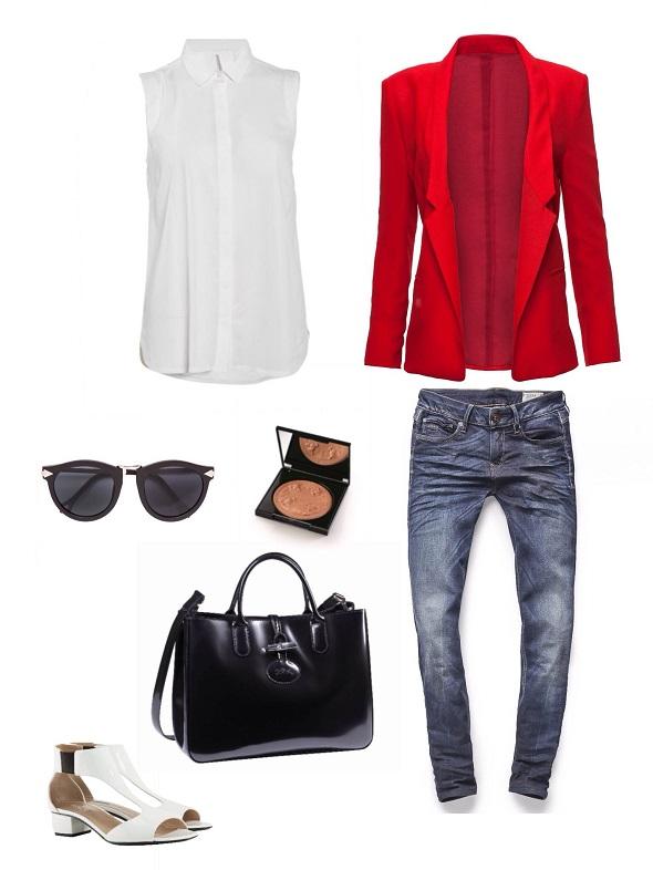 ז׳קט- קסטרו/ג׳ינס- ג׳י סטאר/חולצה - sofy concept/תיק- לונגשאמפ/ משקפיים ונעליים- ג׳ורג׳יו ארמני/פודרה- ג׳יבנשי.