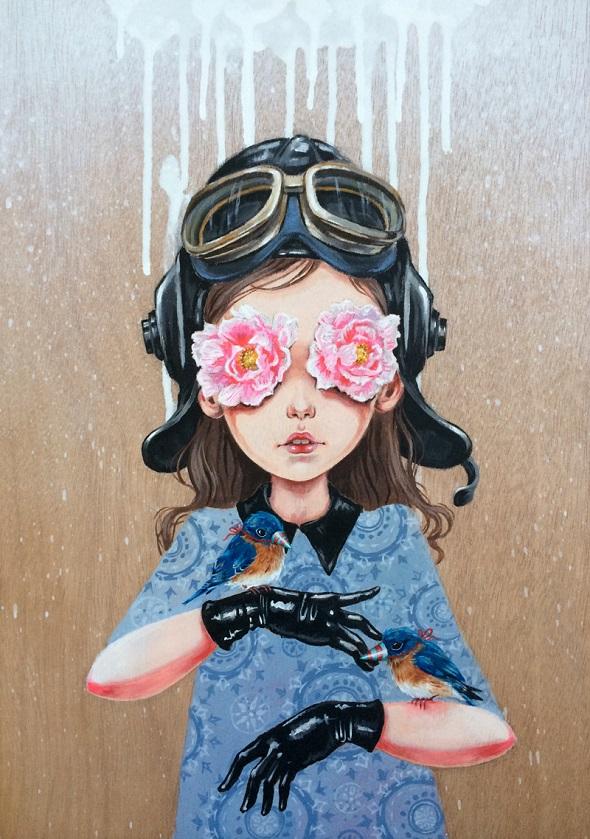 Follow me -Julie Filipenko -on wood - a3 - 2014