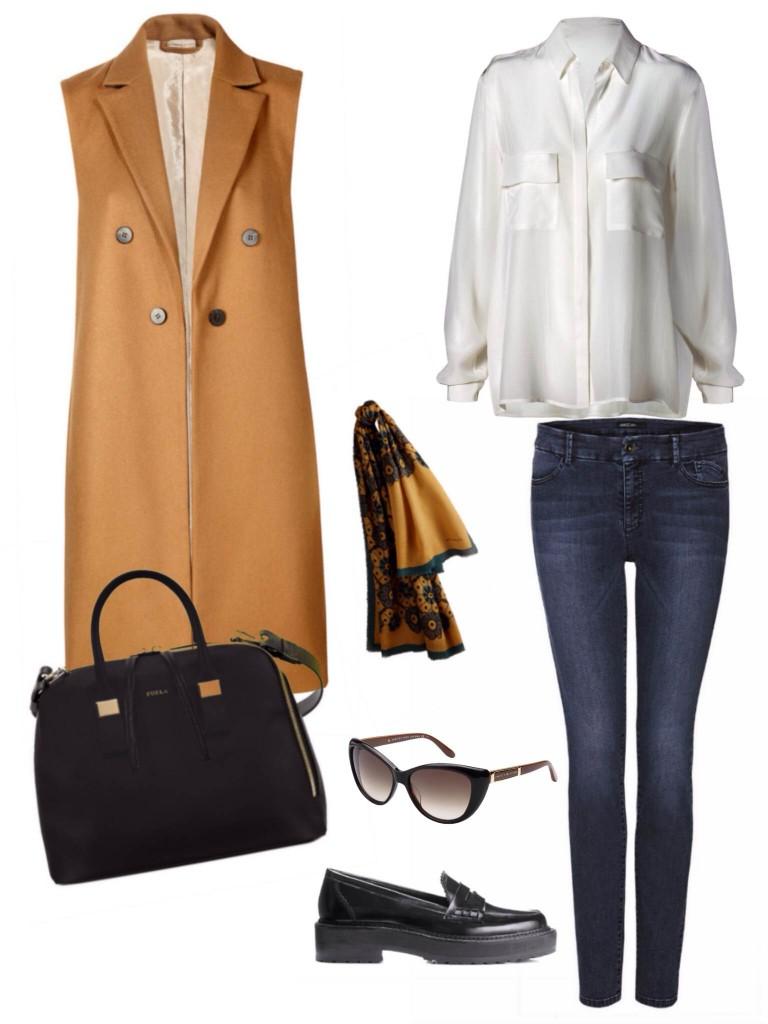 חולצת שיפון וסט ונעליים- מנגו / צעיף- ברברי / ג׳ינס - מארק קיין/משקפיי שמש- מארק ג׳ייקובס לאירוקה/תיק- פורלה