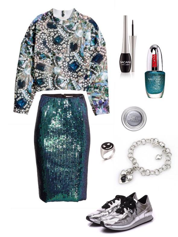 חצאית וחולצה- H&M/לאק- פופה/ איילנר-sacara/ צללית- מייבלין ניו יורק/שרשרת- yoyo32/ טבעת- tous/ נעליים- shoez web store.