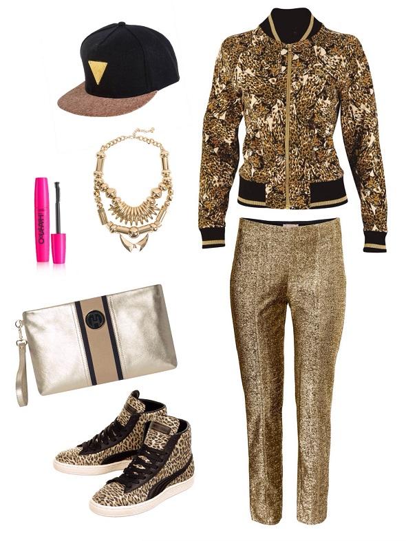 ג׳קט- פומה/ טייץ- H&M/ כובע- רוקגלאם/ שרשרת- ברשקה/מסקרה-סופט טאץ׳ / קלאץ׳- טומי הילפיגר / נעליים- פומה.