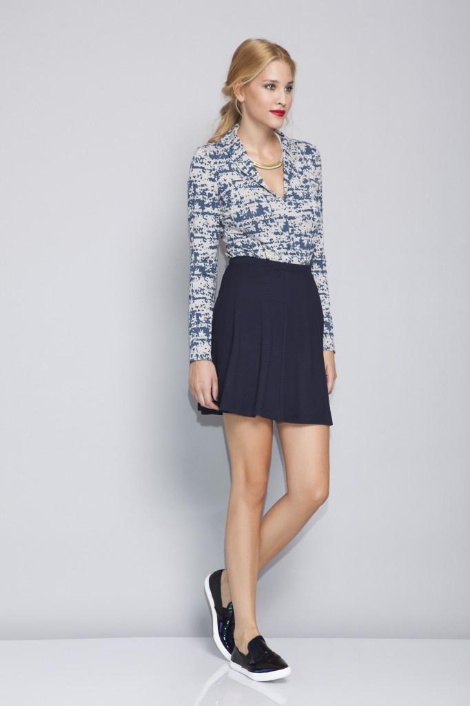 אפרתה סתיו חורף 2014-15 חולצת לייקרה מודפסת (דגם סתיו) 229שח חצאית קלוש שחורה (דגם ליאת) 199שח צילום טום מרשק