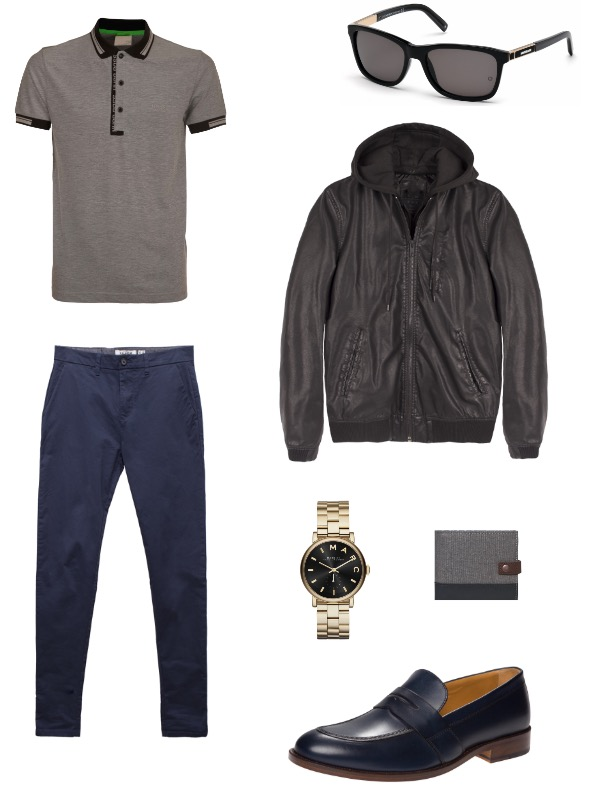 ג'קט ברקשה / חולצת פולו BOSS ל'פקטורי 54'/ מכנסיים פול אנד בר/ נעליים טומי הילפיגר/ משקפי שמש  Mont Blanc / שעון מארק ג'ייקובס ל'פדני'/ ארנק סליו