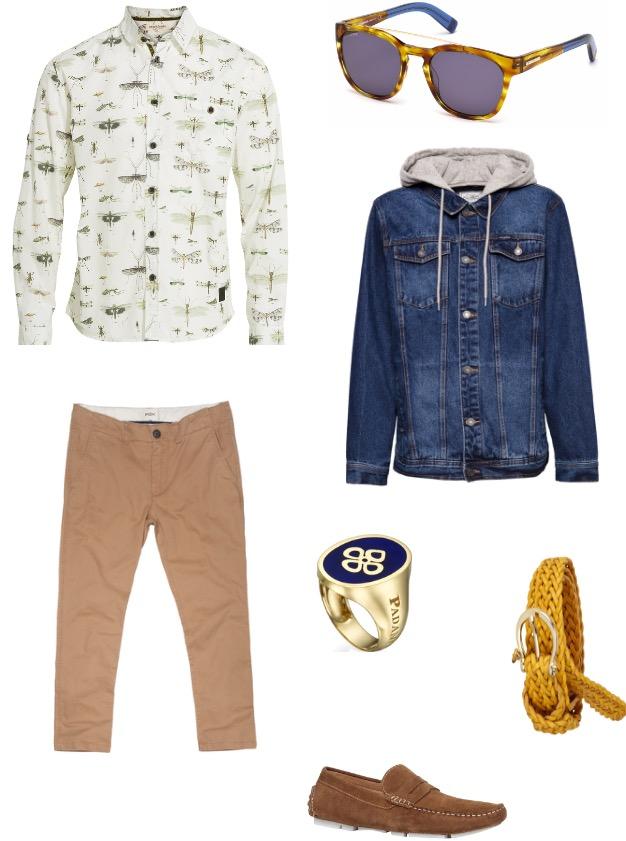 ג'קט ג'ינס פול אנד בר/ חולצה מכופתרת Anderkjendt ל'סטורי'/ מכנסיים פוקס/ חגורה מסימו דוטי/ נעליים אלדו/ טבעת פנדי/ משקפי שמש Dsquared2