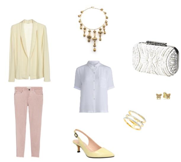 ג'קט ומכנסיים: אמריקן וינטג'/ חולצה: סאקס/ נעליים: קלארקס/ תיק קלאצ':H&M/ שרשרת: קרן וולף/ עגילים: פנדורה/ טבעת: אימפרס