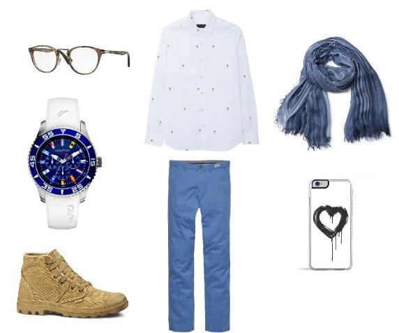 חולצה מוכפתרת: מסימו דוטי/ מכנס: טומי הילפיגר/ נעליים: פלדיום ל'סטורי'/ צעיף: רונן חן/ משקפי ראיה: פרסול/ שעון: נאוטיקה/ כיסוי לאייפון: ICONZ