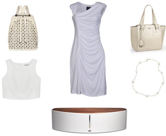 שמלה: רוברטו קוואלי לאל-איטליה/ תיק: קיפלינג/ שרשרת: ה.שטרן/ רמקול: סיריוס אלקטרוניקה/ גופיה: סטודיו פשה/ תיק: פורלה