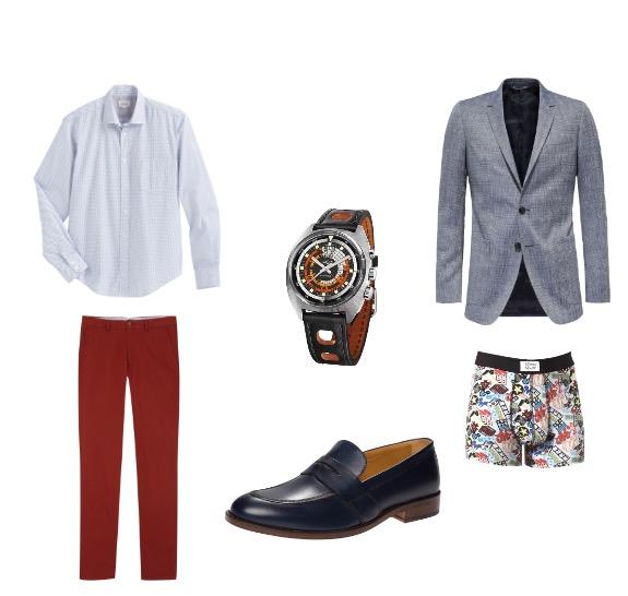 ג'קט ונעליים: טומי הילפיגר/ חולצה מכופתרת: HARTFORD לנומרו / מכנסיים:מסימו דוטי/  תחתונים: סליו/ שעון: vulcain
