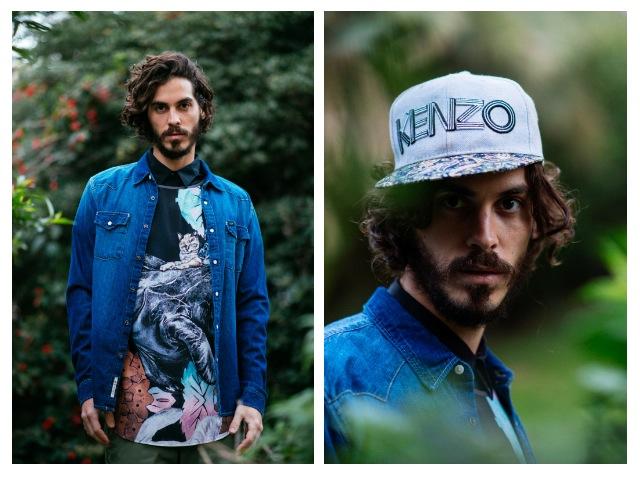 חולצה מכופתרת שחורה: רנגלר/ חולצה: קאלה/ חולצת ג'ינס: Lee/ מכנסיים: ZIP/ כובע קנזו: אוסף פרטי