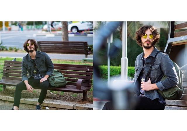 חולצה: קאלה/ מכנסיים: Napapijri/ ג'קט: Lee/ משקפי שמש: יפו תל-אביב/ תיק: Eastpack/ נעליים: יונייטד ניוד