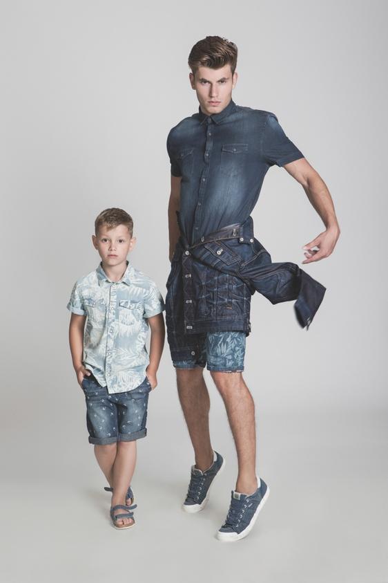 דוגמן (ג'יימס): ג'ינס - טומי הילפיגר/ חולצה - פולגת / ג'קט (קשור) - ג'י סטאר/ נעליים – ריפליי. ילד (איליה): חולצה – H&M / ג'ינס וסנדל - גולף