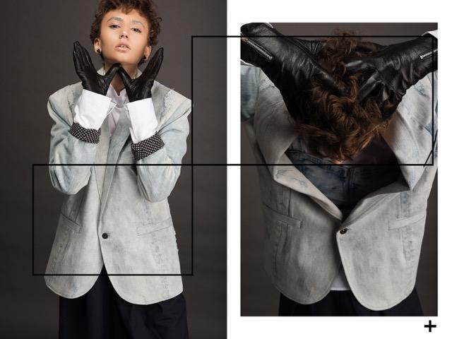 ג'קט וטופ רנואר | חולצה מכופתרת אייץ אנד אם | מכנסיים אמריקן וינטג' | כפפות קסטרו | עגילים שלומית אופיר