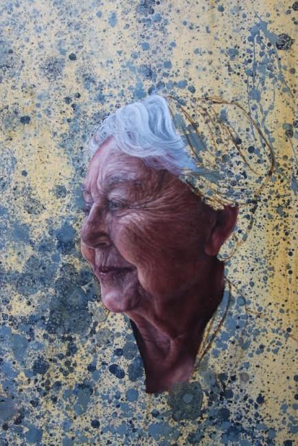 דיוקן של זקנת כפר שמריהו של האמנית יסמין ברקני