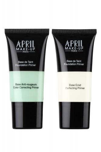 פרימרים של APRIL MAKE UP - פריימר לבן המסייע לצמצום נקבוביות. פריימר ירוק לטשטוש גוון אדמומי של העור. 49 שח בלעדי באפריל. צילום: יח״צ אפריל