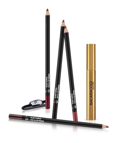 עפרונות עיניים ושפתיים עם חידוד ומסקרה GOLD מבית סקארה צילום קית' גלסמן
