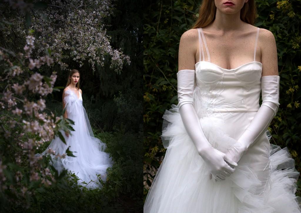 מגשימה גם לעצמה חלום לעצב שמלת כלולות   קולקציית הכלות של שחר אבנט   צילום: מיכל חלבין