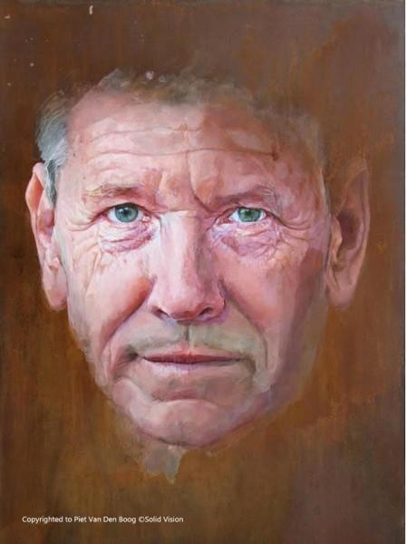 עמוס עוז בדיוקן של האמן ההולנדי ואן דן בוג